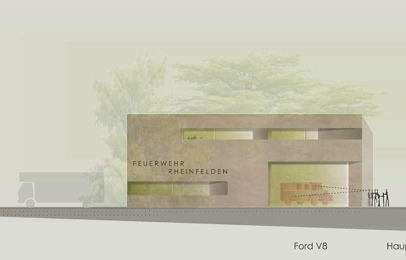 Architektenwettbewerb Zentrales Feuerwehrgerätehaus Rheinfelden - Modelfoto des 1. Preises
